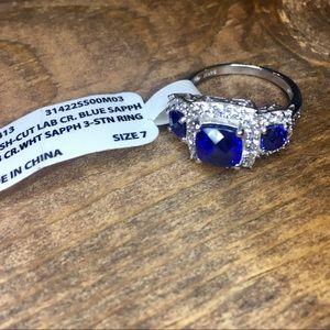 Cushion Cut Lab Created Blue Sapphire & CZ Ring
